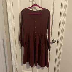Long Sleeve burgundy midi dress